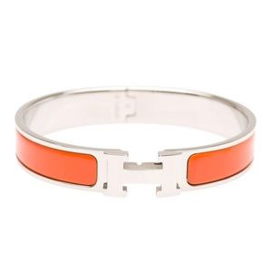 Hermès Orange Clic Clac H Narrow Enamel Bracelet